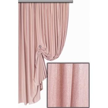 Шторы Тренто мешковина узелок розовый 2866