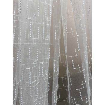 Тюль вышивка на микросетке белая